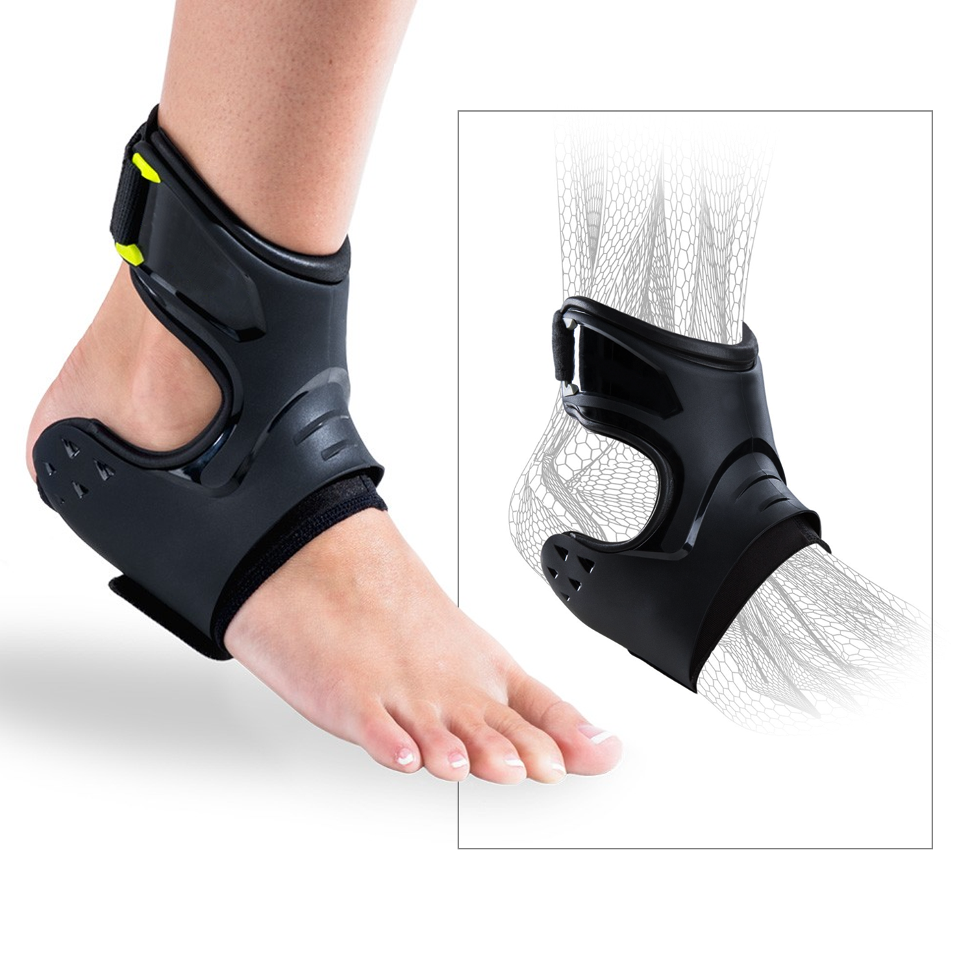 A patient and a diagram of an ankle both wearing ankle braces