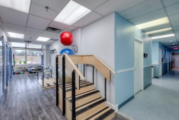mini staircase and exercise balls for physiotherapy practice
